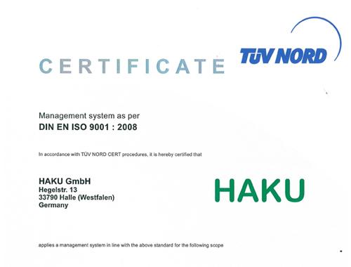 Zertifikat HAKU-Vorschau - HAKU Fertigungstechnik GmbH & Co. KG